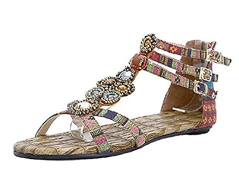 Femmes Flat Sandals chaussures de mode Perlée Bohême Avec Fermeture À Glissière Vin rouge 39EU