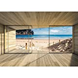 Vlies Fototapete PREMIUM PLUS Wand Foto Tapete Wand Bild Vliestapete - Holz Holzoptik Rahmen Fenster Meer Strand Himmel - no. 2538, Größe:254x184cm Blueback Papier