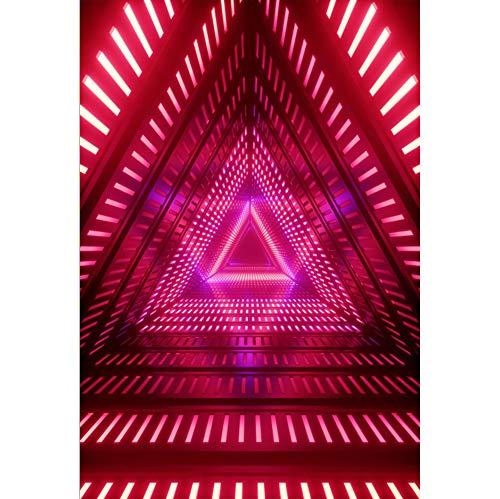 arty Hintergrund Fantasie Rosa LED-Licht Dreieckskanal Hintergrund Kostümparty Retro Disco Abschlussball Poster Fotografie Requisiten ()