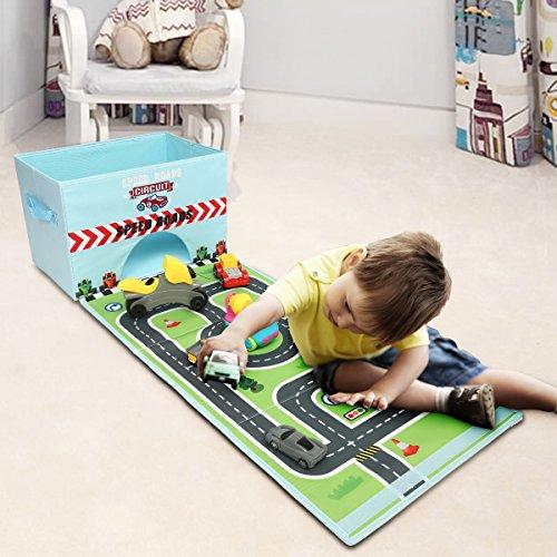 Livememory pliable jouet Boîte de rangement Tissu Toys Organiseur avec Fun Tapis de jeu pour enfants (voitures non inclus)