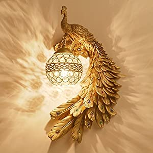 YJNB Europäischen Stil Wand Lampe Nachttischlampe Schlafzimmer Wohnzimmer Hintergrund Atmosphärischen Pfau Crystal Kreative Persönlichkeit Der Gang Wandleuchte