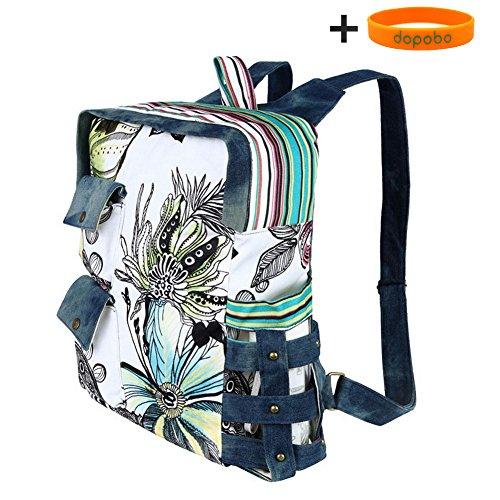 Imagen de dopobo retro diseño de flores con impresión de colibríes y vintage canvas bolsas de diseño de tela vaquera  de senderismo  bolsa de viaje marrón alternativa