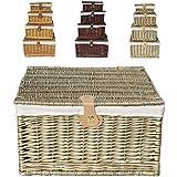 Fuerte roble marrón de madera de pino con tapa de Navidad de mimbre cesta cesto con forro de tela, marrón, Small 30 x 23 x 13 cm