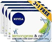 NIVEA Lemongrass & Oil Soap Bar, Jojoba Oil, Lemongrass Scent, 3+1 FREE, 4x
