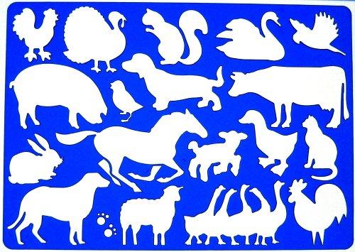 Bauernhof Tiere Schablone Zeichenschablone - Symbole Henne Schwein Türkei Kaninchen Hunde Schwan Schafe Kuh Katze Hahn Enten Pferd Gänse Eichhörnchen Vogel -