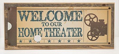 OMSC Welcome to Our Home Theater Metall Schild auf rustikal Scheune, Holz Rahmen, Retro Ticket to die Film, Media, Wohnzimmer, Bar, den Decor (Rustikal-media-möbel)