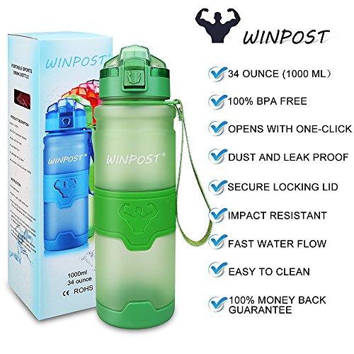 WINPOST Sport Trinkflasche-Tritan Wasserflasche-500ml&700ml&1000ml-BPA-Frei-Ideale Sportflasche-Schnelle Wasserdurchfluss,Flip Top,öffnet Sich mit 1-Click - 2.5 Unzen Flüssigkeit