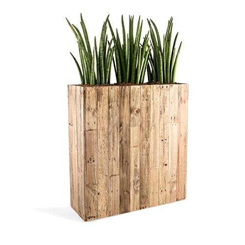 "Raumteiler ""Woodline High Box"" Dark Flame Wood Rechteckig 100x93.5x33.5cm - F475"