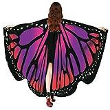 FNKDOR Fasching Kostüm Schmetterling Damen Mädchen Flügel Fee Nymphe Elfen Flügel (168*135CM, Rot-C)