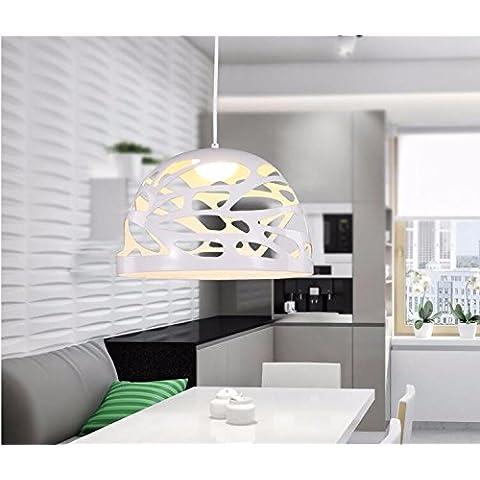 YM@YG Moderna minimalista di vetro incisione LED Lampadario soggiorno Bar e ristorante pranzante tabella caffetteria combinazione lampada,9W bianco