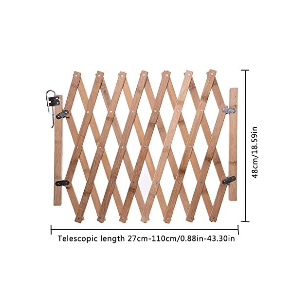 Pet Expanding Wooden Fence Gate,Retractable Dog Screen Sliding Door Gates Doorways Freestanding Portable Dog Cat Gate Safety for Home Patio Garden Lawn cheerfulus-123 Pet Wooden Door Fence: The wooden fence gate allows pets to stay away from dangerous areas while providing a safe fence for play and rest Retractable Dog Gate: The length is about 60-110cm,the distance that can be stretched when used,can be shrunk when not in use Easy Installation: The wood pet fence has two screws fixed on one side, and the other side is designed as a buckle for easy access 7