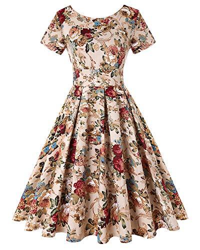 MINTLIMIT Damen Audrey Hepburn Kurze Ärmel Vintage Stil Rockabilly Schwingen Kleid (Floral Khaki,Größe S) -