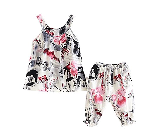 XINNE Baby Mädchen Sommer 2 Stück Tops Kleid Shorts Hose Set Party Outfits Overall Ink Malerei 2-3 Jahre (Outfit Malerei)