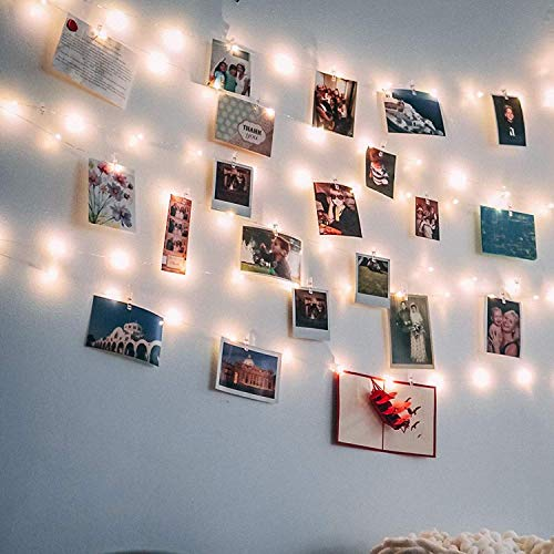 Clip Cadena de Luces LED USB, LECLSTAR 10m 100 LED Fotoclips Guirnalda de Luces con 50 Pinzas, ideal para Hogar,  Pared,  Navidad,  Fiesta,  Boda, Decoraciones de Dormitorio