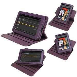 GTMax violet PU cuir Multi-Angle de rotation de cas couverture Folio avec support intégré pour Amazon Kindle Fire 7 pouces Android 3.2 Tablette
