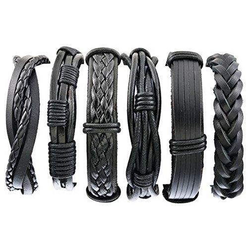 Herren Armband Set Lederarmbänder Geflochten Seil Armreifen aus Leder Größe Verstellbar 3 Stück (6 Stück Schwarz)