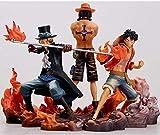 Sconosciuto Statua del Giocattolo One Piece Toy Model Collezione di Personaggi dei Cartoni Animati/Souvenir One Piece Tre fratelli Rufy/Ace/Saab 15CM