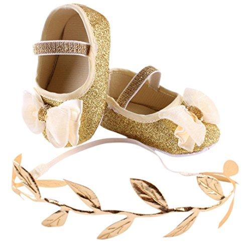 FEITONG Baby Blumen Turnschuh Gleitschutzhand weiches Kleinkind Shoes + 1pc Haarband (13, Gold) (Baby-mädchen Phat Baby)