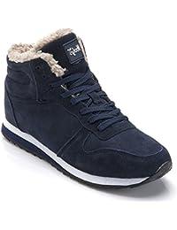 Minetom Botas de Nieve para Hombre Mujer Otoño Invierno Plano Botines Calentar Ocasional Outdoor Zapatillas Negro Azul