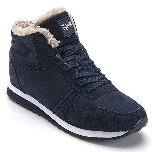 Minetom Damen Herren Unisex Flach Stiefel Schneestiefel Hohe Sneaker Warm Gefütterte Schnürstiefel Schuhe Winterstiefel Blau 38
