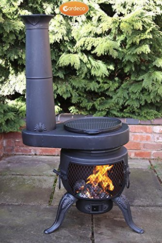 The Tia Chiminea with stove is a unique practical and modern chiminea with a swivel BBQ grill, with the feature of a chim-stove, its perfect for outdoor cooking and barbecuing. You will also find that it burns any type of fuel, warms quickly and puts out a lot of heat.