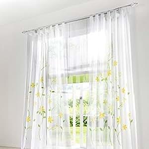 souarts gelb blumen transparent gardine vorhang schlaufenschal deko f r wohnzimmer. Black Bedroom Furniture Sets. Home Design Ideas