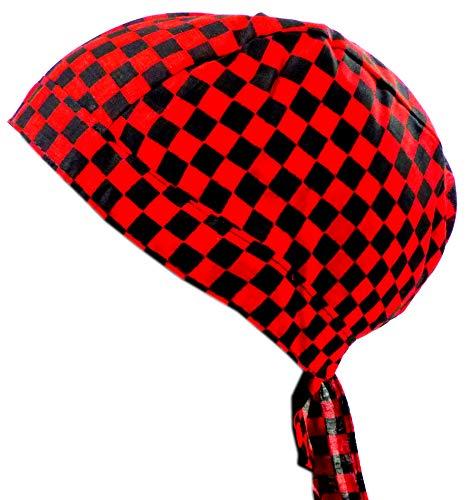 en Kinder Kopftuch schwarz rot Karo klein ()