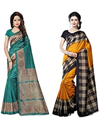 [Sponsored]Saree Mall Women's With Blouse Piece Art Silk Saree (Srj002_021 _Multi-Coloured_Free Size)Combo Pack