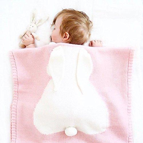 Babydecke Abdeckung Decke Hasenohren Dreidimensionale Kaninchen Stickerei Kinder Stricken Decke Strand Matte Babydecke,Pink-42.5*28.7in