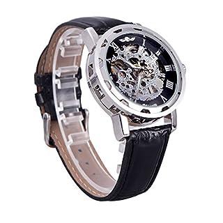 Ablegrow (TM) Winner Classic Uhr mit sichtbarem Uhrwerk, transparentes Ziffernblatt, mechanische Armbanduhr mit Lederband White Royal Blue