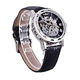 AbleGrow(TM Winner Classic Esqueleto Dial Mano Bobinado Mecánico Deporte Ejército Relojes Hombres Hueco Transparente Dial Correa de Cuero Reloj