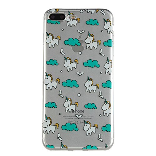 Pour iphone 7 Case Cover, Meet de Coque TPU Silicone Dessinez motif pour iphone 7 - Housse Etui Protection Full Silicone Souple Ultra Mince Fine Slim, TPU avec Absorption de Choc, Etui Silicone Transp Licorne
