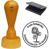 Sello con cojín « sol flor con cara » sello de direcciones Empresas Sellos Einschulung Kids
