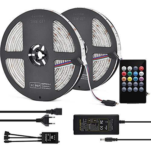 LED Strip RGB Streifen 10 m Musik Licht Fernbedienung 5050SMD 300LED Trafo 12V 5A selbstklebend dimmbar verlängerbar schneidbar mit Gedächtnis Hintergrund Beleuchtung inkl. Musik-Modus