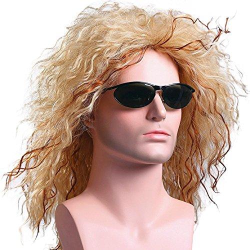 Rocker Kostüm Perücken - Milrüme Perücke Blond herren Wig 80er
