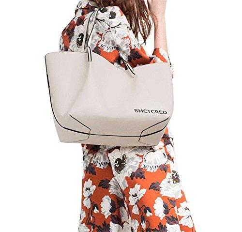 SMCTCRED Satchel Cartella borsa della borsa a mano in pelle PU moda vintage autentico antichi modi in pelle di cera olio pelle morbida borsa in stoffa a tracolla in pelle Borse borsa Tablet, iPad Bag (Bianca)