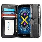 J & D Honor 6X Hülle, [Handytasche mit Standfuß] [Slim Fit] Robust Stoßfest Aufklappbar Tasche Hülle für Huawei Honor 6X - Schwarz