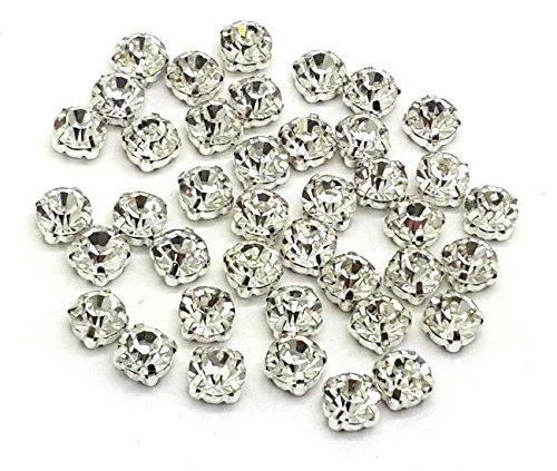 EIMASS® Strasssteine, wunderschöne Qualität, klebende, flache Rückseite, Glas-Strasssteine in Silber- & Goldfassung, 100Stück, Clear Crystal in Silver Casing, ss25 (5 mm)