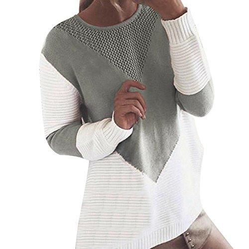 Rovinci Herbst Frühling Damen Pullover Casual Rundhals Farbblock Patchwork Sweatshirt Mode Kontrastfarbe Strickpullover Oberteile Loose Bluse Strick Tunika Langarmshirt Outwear Jumper Hemd