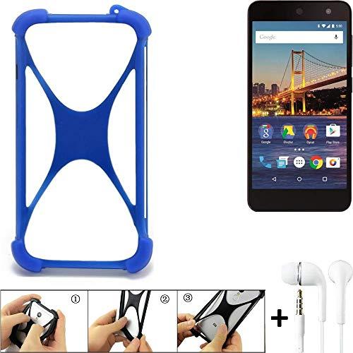 K-S-Trade Handyhülle für General Mobile 4G Bumper Schutzhülle Silikon Schutz Hülle Cover Case Silikoncase Silikonbumper TPU Softcase Smartphone, Blau (1x), Headphones