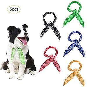 Yunhigh Chien Refroidissement Bandana Eté, 5pcs Glace Cool Chill Out Cou Écharpe Wrap Cravate avec Perles Gel pour Chiot Chiens Pet