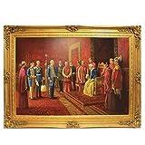 Riesiges Handgemaltes Barock Öl Gemälde Kaiser Wilhelm Audienz beim Papst Gold Prunk Rahmen 220 x 160 x 10 cm - Massives Material