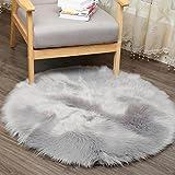 Teppich Tund, HUIHUI 45 CM Künstlicher Schaffell Teppich Anti-Skid Yoga Teppich Fluffy Teppich für Wohnzimmer Schaffell Stil Teppich (Grau)