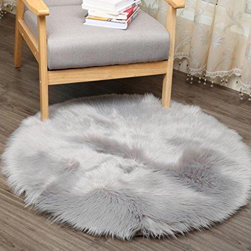 Teppich Tund, HUIHUI 30 x 30 cm Künstlicher Schaffell Teppich Anti-Skid Yoga Teppich Fluffy Teppich für Wohnzimmer Schaffell Stil Teppich (Grau) (Grau Und Rosa Runder Teppich)