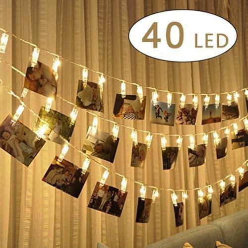 (Four Heart LED Foto Clips Lichterketten - 40 Photo Clips 6M USB Stromversorgung Photoclips, Ideal für hängende Bilder, Foto & Weihnachten, Party,Halloween Deko)