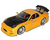 Jada Sonderposten Mazda RX7 FD 3S Gelb Schwarz Tuning 1991-2002 1/24 Modell Auto