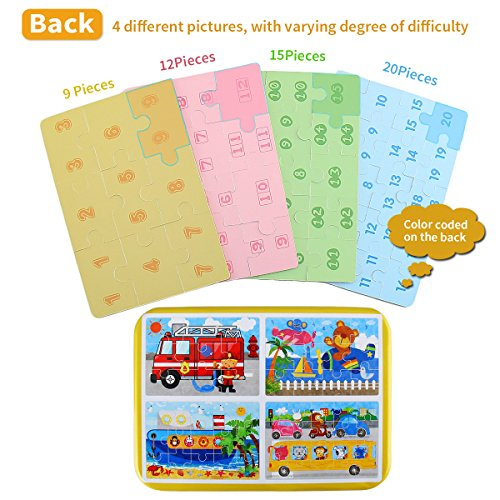 BBLIKE Wooden Jigsaw Puzzles Toy for Kids 224pcs Puzzles in 4 Tin Boxes ,Varying Degree of Difficulty Educational Tool Best Birthday Present for Boys Girls (C)