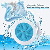 GEMITTO Ultrasonic Turbine Washing Machine, Clothes Washer, USB Portable Mini Laundry Cleaning Machine, 2 in 1 High Frequency Laundry Washer for Travel and Children