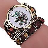Frauen Uhren,Moeavan Frauen-Elefant-Uhren-Räumungs-Damen-Uhr-weibliche Uhren auf Verkaufs-preiswerte lederne Uhren (Schwarz)