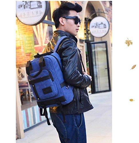Männer Multifunktionsreisecomputer Rucksack Persönlichkeit Tasche Waschbar Baumwollstofftaschen black